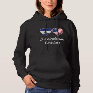 El Salvadorian American Flag Hearts Hoodie