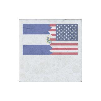 El Salvadorian American Flag Stone Magnet