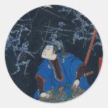 El samurai lucha los esqueletos pegatinas redondas