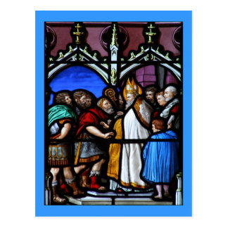 El santo Ambrose enfrenta el emperador Theodosius Postales