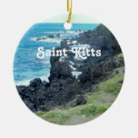 El santo San Cristobal costea Adorno Navideño Redondo De Cerámica