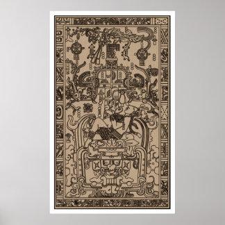 El sarcófago de Pacal - nave espacial maya antigua Poster