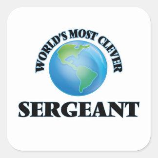 El sargento más listo del mundo pegatina cuadrada
