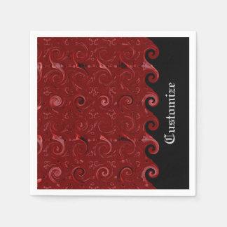 El satén rojo y negro encrespa servilletas servilleta desechable