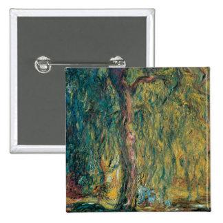 El sauce que llora de Claude Monet Pin Cuadrado