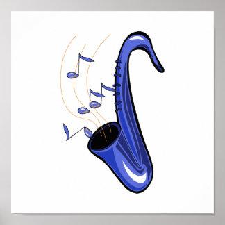 el saxofón abstracto w del saxofón observa blue.pn posters
