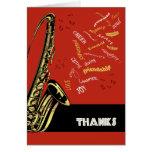 El saxofón del jazz le agradece cardar tarjeta de felicitación
