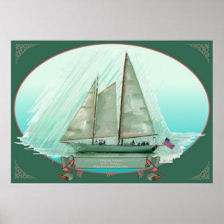 El Schooner Madeleine, Newport, pintura al óleo Posters