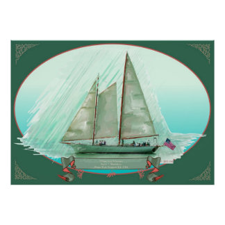 El Schooner Madeleine, Newport, pintura al óleo Póster