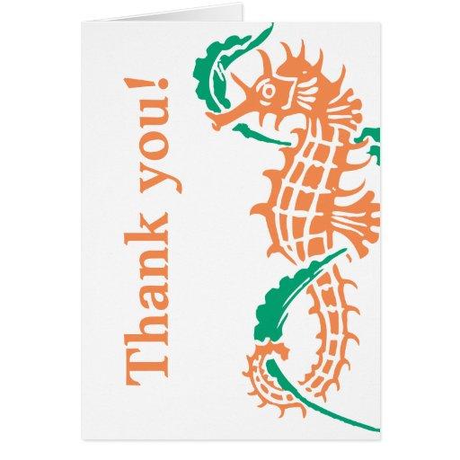 El Seahorse emeral, el boda coralino le agradece Tarjeton