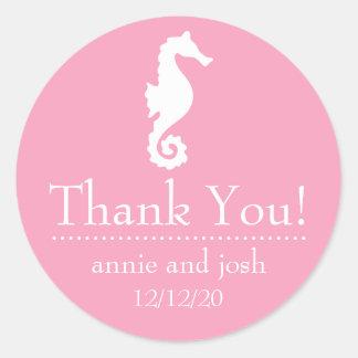 El Seahorse le agradece las etiquetas (el rosa) Etiqueta Redonda