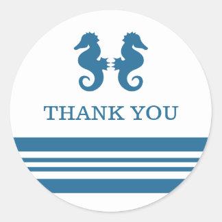 El Seahorse náutico le agradece los pegatinas Etiquetas Redondas