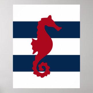 El Seahorse rojo en la marina de guerra y las Póster