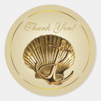 El Seashell anclado náutico le agradece ecru y oro Pegatina Redonda