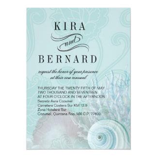 "El Seashell de Kira soña la aguamarina del boda de Invitación 5.5"" X 7.5"""