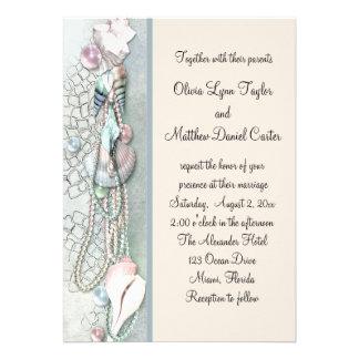 El Seashell gotea el boda de playa elegante Comunicados Personales