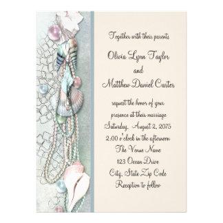 El Seashell gotea el boda de playa elegante Invitaciones Personales