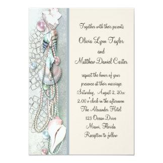 """El Seashell gotea el boda de playa elegante Invitación 5"""" X 7"""""""