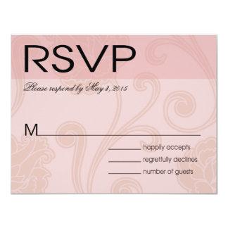 """El Seashell soña el rosa de RSVP del boda de playa Invitación 4.25"""" X 5.5"""""""