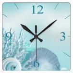 El Seashell soña la aguamarina tropical de la play Reloj Cuadrado