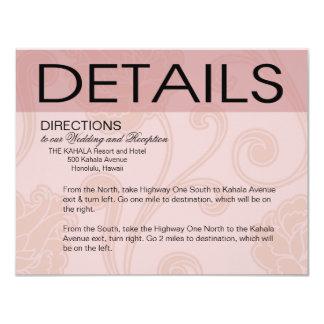 """El Seashell soña rosa de las direcciones del boda Invitación 4.25"""" X 5.5"""""""