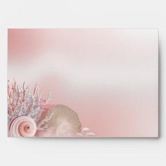El Seashell soña rosa del boda de playa A7 Sobres