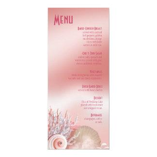 """El Seashell soña rosa del menú del boda de playa Invitación 4"""" X 9.25"""""""