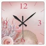 El Seashell soña rosa tropical de la playa el | Relojes De Pared