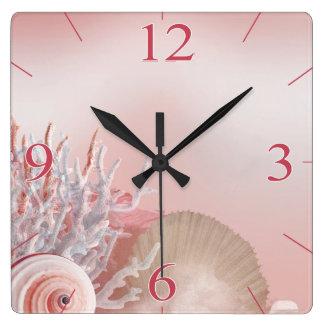 El Seashell soña rosa tropical de la playa el   Reloj Cuadrado