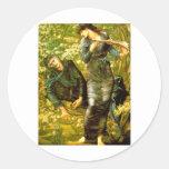 El seducir de la pintura 1874 de Burne-Jones del ~ Pegatinas Redondas