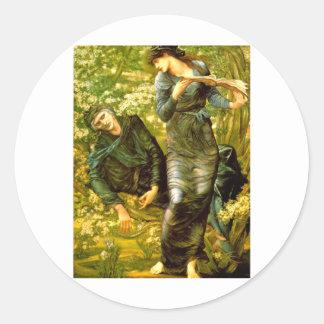 El seducir de la pintura 1874 de Burne-Jones del ~ Pegatina Redonda