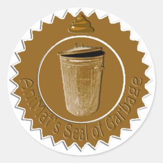 El sello de AniMat de los pegatinas de la basura Pegatina Redonda