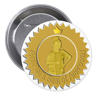 El sello de AniMat del Pin de la aprobación (grand Pin Redondo 7 Cm