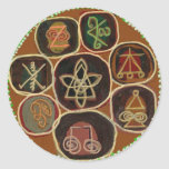 El SELLO de CURA:  Emblema de Karuna Reiki Pegatina Redonda