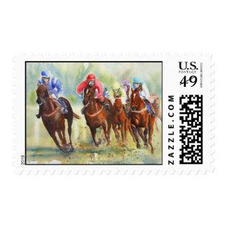 El sello de la carrera de caballos de la caza