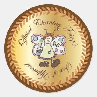 El sello de la hada oficial de la limpieza del pegatina redonda