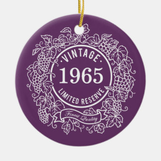 El sello del vino de la vid del vintage, añade año ornaments para arbol de navidad