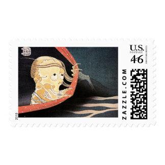 El sello esquelético extraño de Hokusai