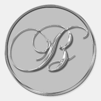El sello formal de plata del monograma B del boda Pegatina Redonda