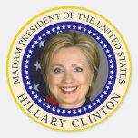 El sello presidencial de Hillary Clinton Pegatina Redonda