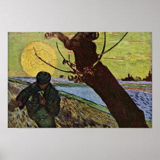 El sembrador de Vincent van Gogh Póster