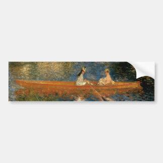 El Sena de Renoir en Asnières (el Skiff) Ca 1879 Pegatina Para Auto
