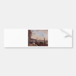 El Sena en el puerto margoso por Camille Pissarro Pegatina Para Auto