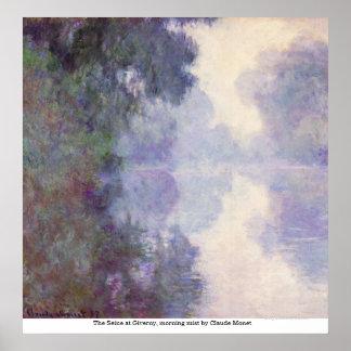 El Sena en Giverny, niebla de la mañana de Claude Póster