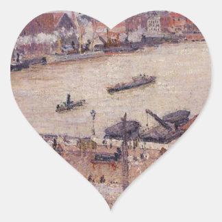 El Sena en la inundación, Ruán de Camille Pissarro Pegatina En Forma De Corazón