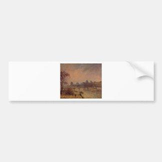 El Sena y el Louvre, París Camille Pissarro Pegatina Para Auto