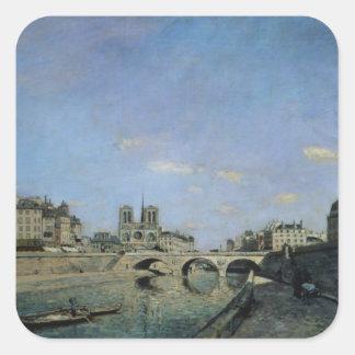 El Sena y Notre Dame en París, 1864 Pegatina Cuadradas Personalizada
