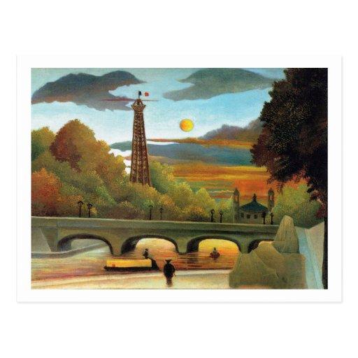 El Sena y torre Eiffel en la puesta del sol de Rou Postales