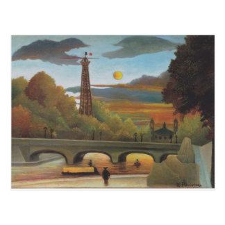El Sena y torre Eiffel en la puesta del sol de Tarjetas Postales