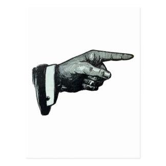 El señalar de la mano del vintage postal